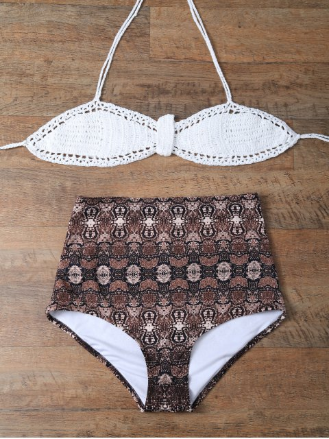women's High Waisted Printed Knitted Halter Bikini - COFFEE + WHITE 2XL Mobile