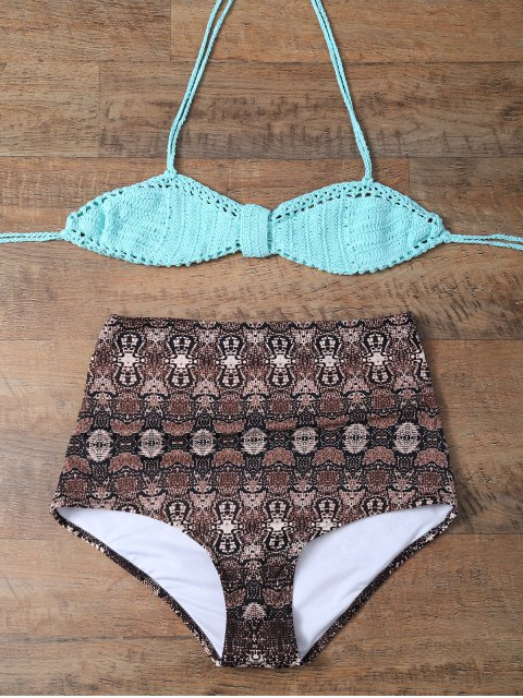 hot High Waisted Printed Knitted Multiway Bikini - COFFEE AND GREEN L Mobile