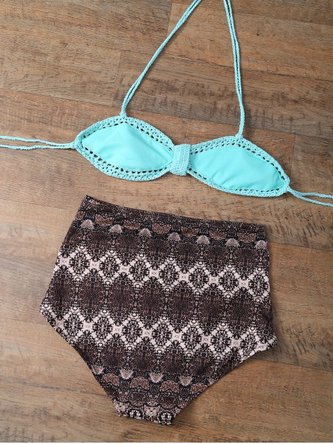 outfit High Waisted Printed Knitted Multiway Bikini - COFFEE AND GREEN M Mobile