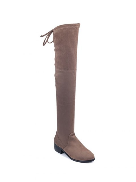outfits Flock Thigh High Boots - BROWN 37 Mobile