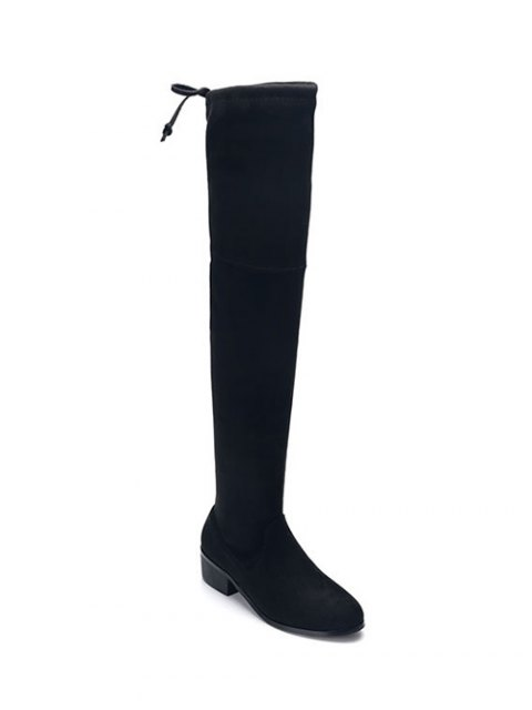 latest Flock Thigh High Boots - BLACK 40 Mobile