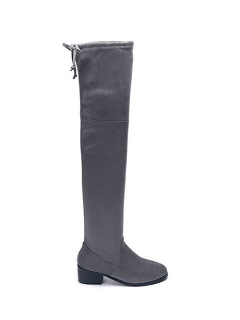 fancy Flock Thigh High Boots - GRAY 40 Mobile