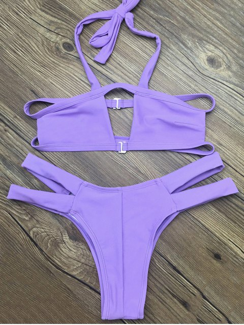 fashion Side Strap Cut Out Halter Bikini - PURPLE S Mobile