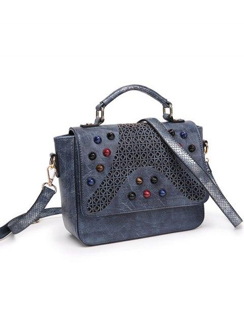 lady Colored Rivet Cut Out Handbag - GRAY  Mobile