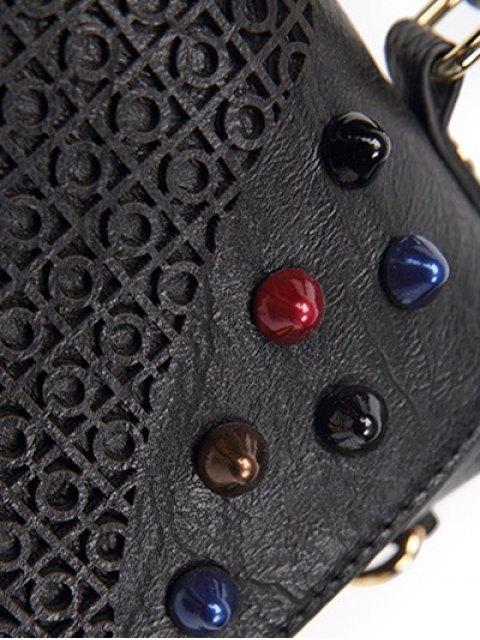 best Colored Rivet Cut Out Handbag - BLACK  Mobile