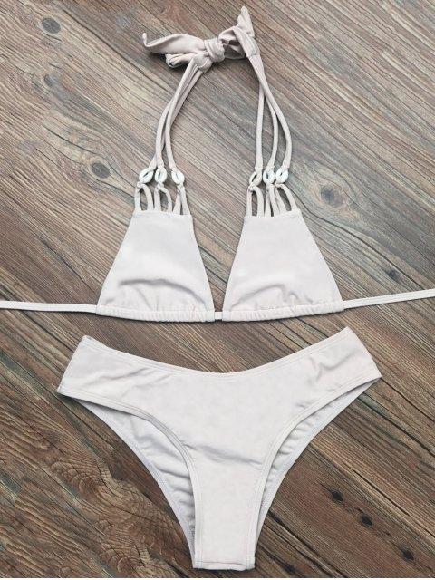 new Halter Strappy Plunge Bikini - APRICOT S Mobile
