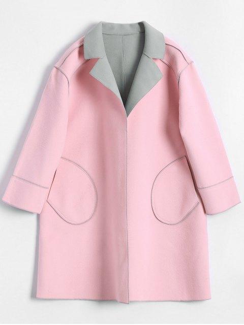womens Plus Size Color Block Wool Blend Coat - LIGHT PINK 5XL Mobile