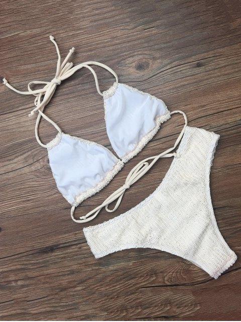 fashion Self Tie Plunge Bikini - CRYSTAL CREAM S Mobile