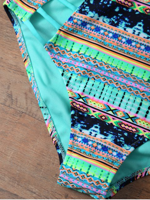 best Tribal Print Cutout One Piece African Print Swimsuit - MULTICOLOR S Mobile