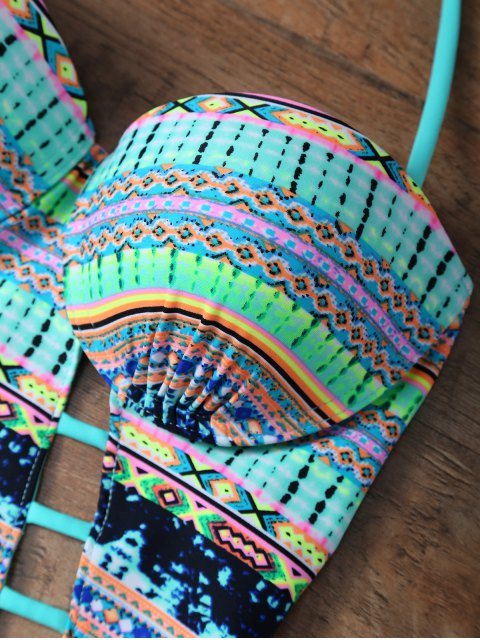 lady Tribal Print Cutout One Piece African Print Swimsuit - MULTICOLOR M Mobile