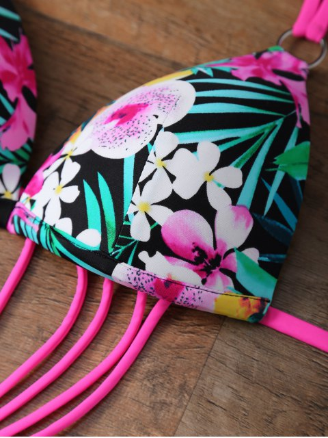 online Floral Print Cutout Strappy Swimsuit - FLORAL L Mobile