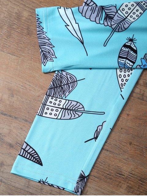 shop Slimming Leaf Pattern Leggings - LAKE BLUE L Mobile