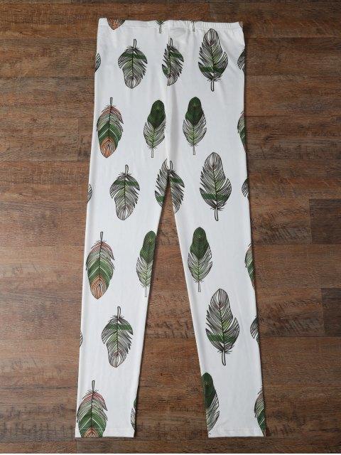 women Slimming Leaf Leggings - WHITE L Mobile