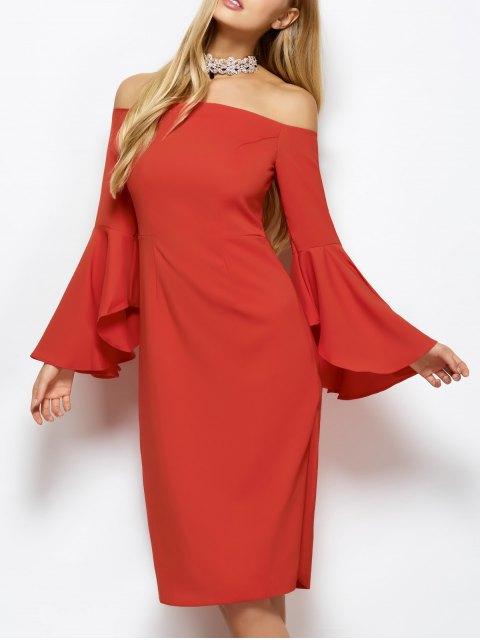 shops Off The Shoulder Slit Pencil Dress - RED XL Mobile