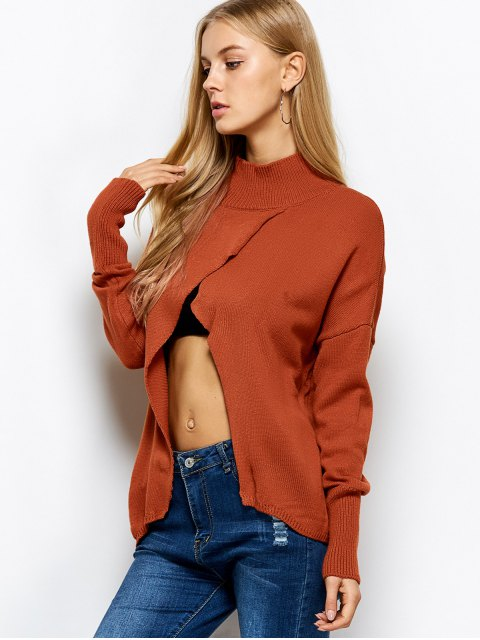 fashion Turtleneck Crossover Hem Sweater - JACINTH M Mobile