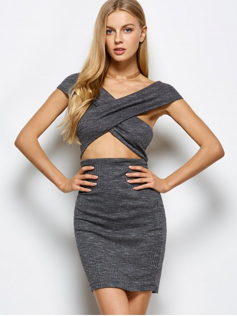lady Heathered Wraped Sweater Dress - GRAY M Mobile