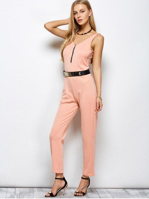 lady Half Zip Straight Jumpsuit - PINK L Mobile