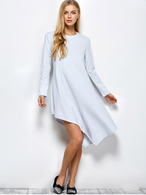 fancy Asymmetric Full Sleeve Dress - LIGHT GREY XL Mobile