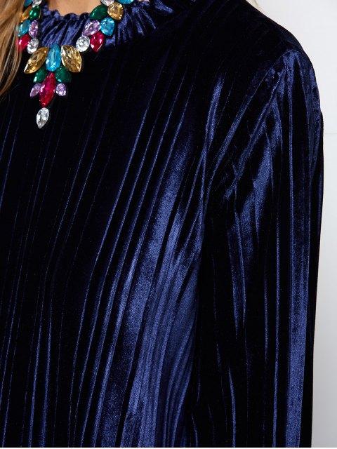 chic Elastic Hemline Relaxed Velvet Dress - PURPLISH BLUE S Mobile