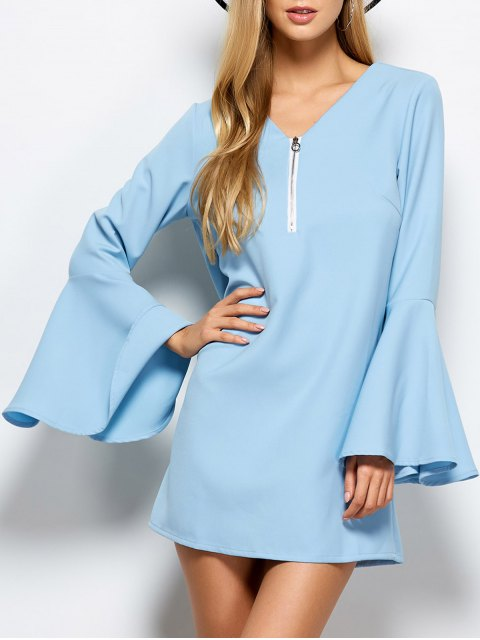 new Flare Sleeve Fitting Mini Dress - LIGHT BLUE XL Mobile