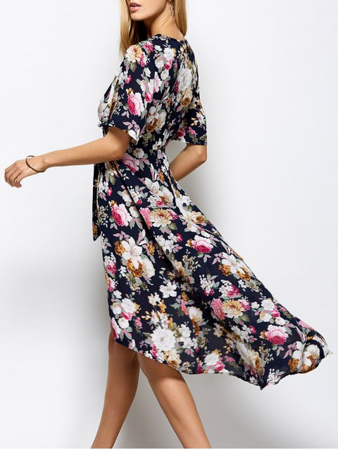 lady Front Slit Floral Maxi Surplice Dress - FLORAL S Mobile