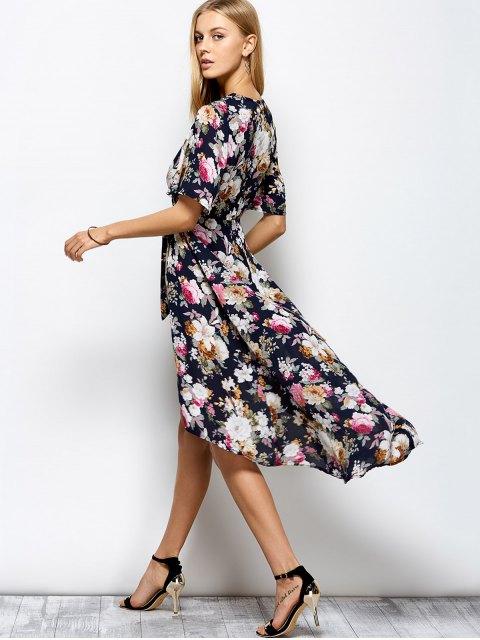 women Front Slit Floral Maxi Surplice Dress - FLORAL XL Mobile