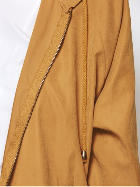 ladies Hooded Zippered Coat - CAMEL M Mobile