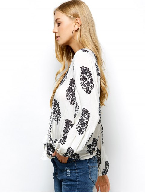 affordable Retro Print Long Sleeve Wrap Peasant Blouse - WHITE 2XL Mobile