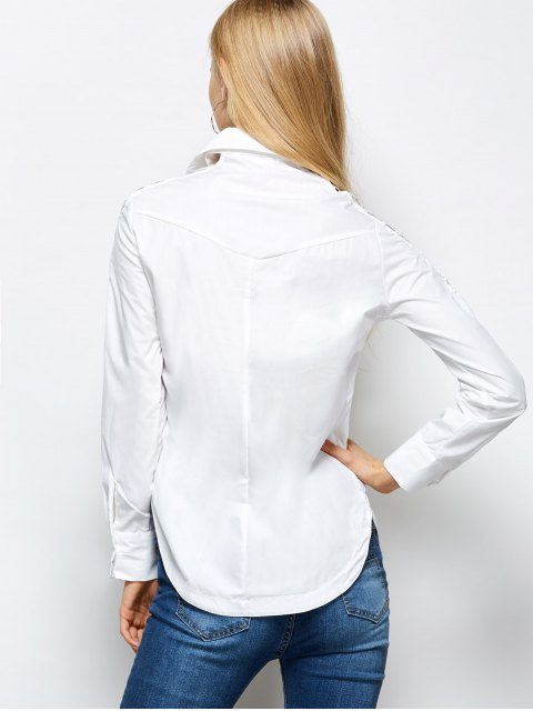 shop Strappy Sleeve Shirt - WHITE M Mobile