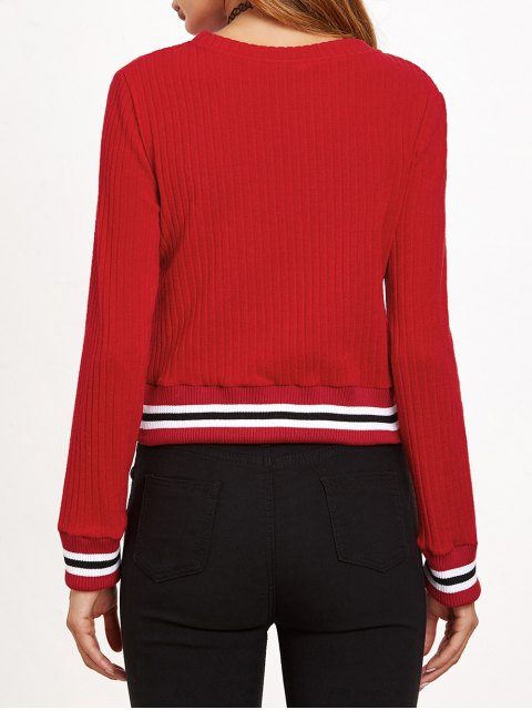 affordable Ribbed Cropped Pullover Sweater - RED XL Mobile
