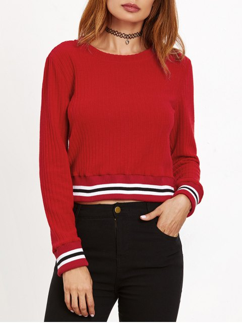 buy Ribbed Cropped Pullover Sweater - RED L Mobile