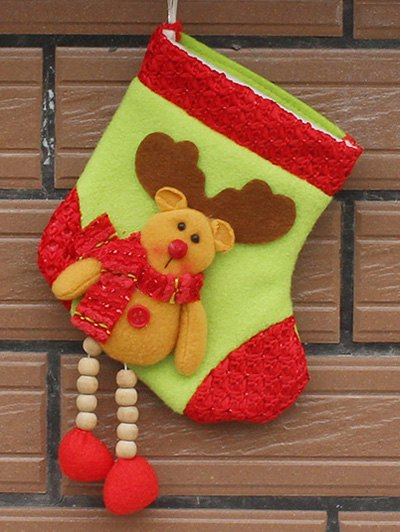 Christmas Deer Pattern Hanging Santa Present Sock - YELLOW  Mobile