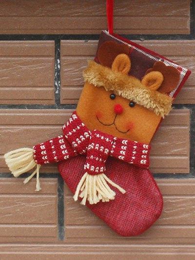 Christmas Deer Patern Stocking Sock - YELLOW  Mobile