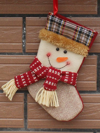 Christmas Tree Snowman Hanging Kids Present Sock - White