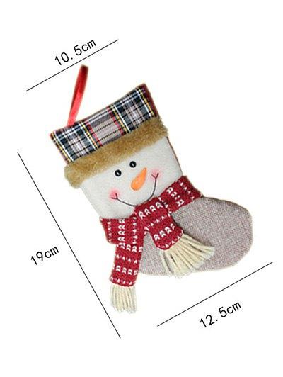Christmas Tree Snowman Hanging Kids Present Sock - WHITE  Mobile