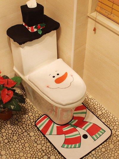 Christmas 3PCS Snowman Pattern Cover Set - White