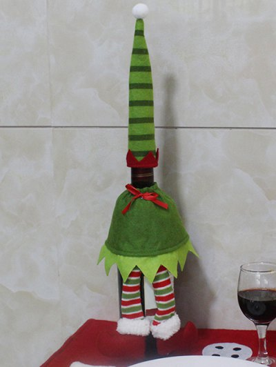Christmas Stripe Wine Bottle Cover Bag - GREEN  Mobile