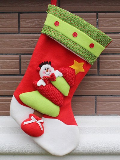 Xmas Tree Hanging Gift Sock - RED AND GREEN  Mobile