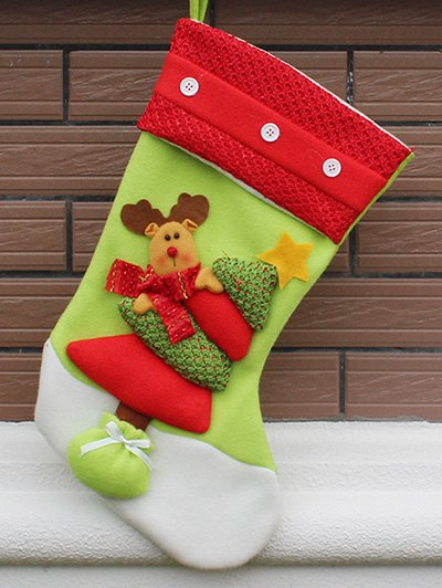 Party Decor Christmas Stocking Bag - RED AND GREEN  Mobile