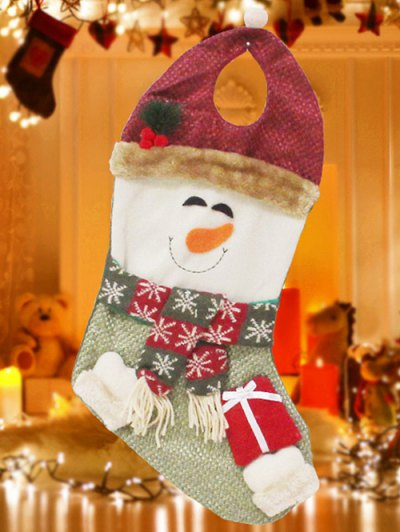 Snowman Hanging Present Stocking Bag - RED AND GREEN  Mobile