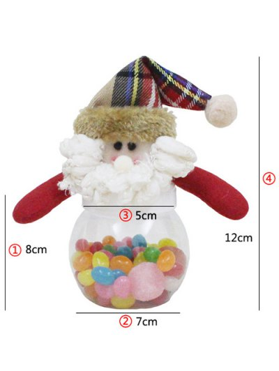 Christmas Cute Plush Santa Toy Candy Jar - TRANSPARENT  Mobile