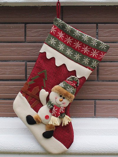 Christmas Decoration Hanging Kids Candy Present Sock - RED  Mobile