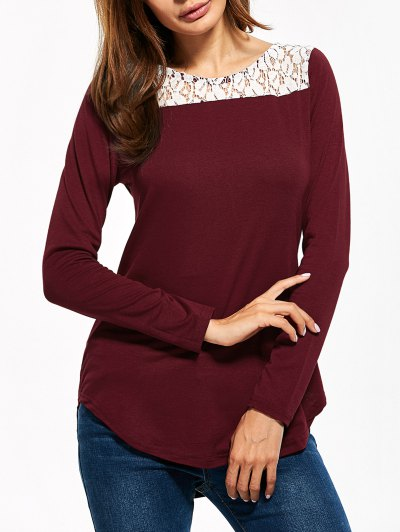 Lace Panel Cut Out T-Shirt - BURGUNDY L Mobile