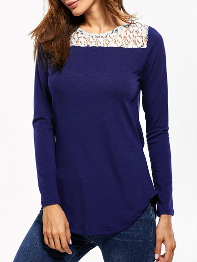 Lace Panel Cut Out T-Shirt - BLUE L Mobile