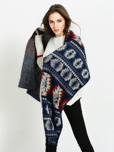 Snowflake Pattern Scarf - CADETBLUE  Mobile
