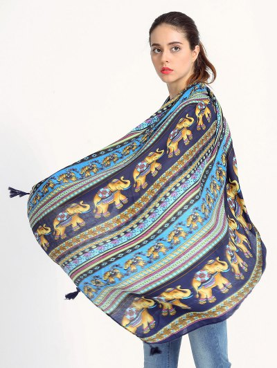 Elephant Pattern Tassel Scarf - BLUE  Mobile