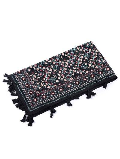 Floral Pattern Tassel Pendant Scarf - BLACK  Mobile