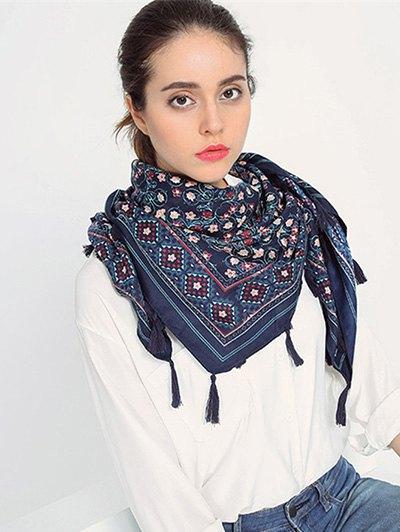 Floral Pattern Tassel Pendant Scarf - CADETBLUE  Mobile