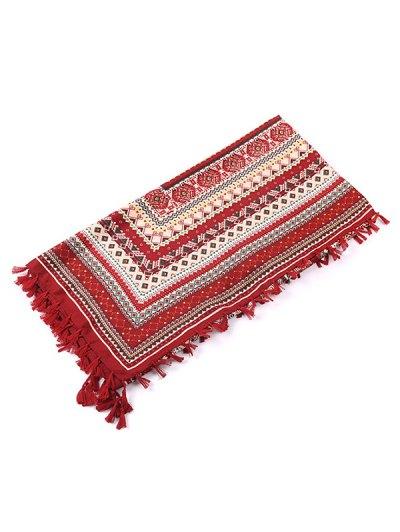 Totem Pattern Tassel Scarf - WINE RED  Mobile