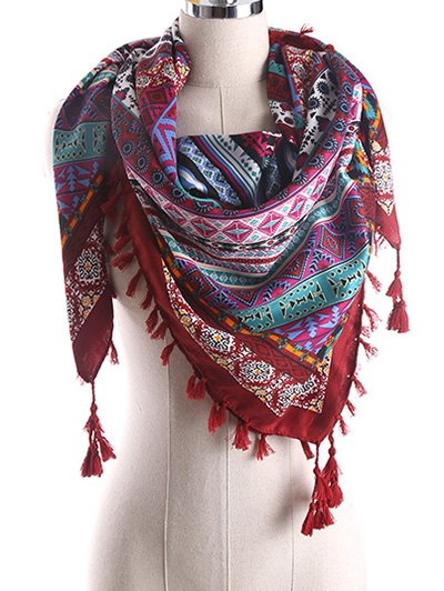 Geometry Pattern Tassel Scarf - WINE RED  Mobile